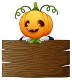 Σκιάχτρο κινούμενων σχεδίων αποκριών με τον ξύλινο πίνακα διανυσματική απεικόνιση