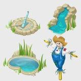 Σκιάχτρο, πηγή, λίμνη και διακοσμητικά στοιχεία ελεύθερη απεικόνιση δικαιώματος