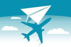 Σκιά αεροπλάνων εγγράφου μεταφορά απεικόνιση αποθεμάτων