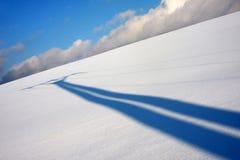 σκιά πεδίων χιονώδης Στοκ Εικόνες