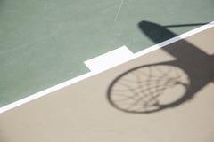 Σκιά της στεφάνης και του δικτύου καλαθοσφαίρισης ενάντια στο δικαστήριο Στοκ Φωτογραφία
