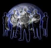 σκιά 3 γήινων ανθρώπων διανυσματική απεικόνιση