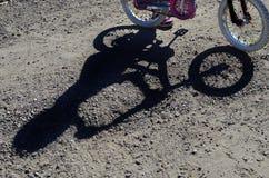 Σκιά Biking βουνών του αναβάτη και του ποδηλάτου Στοκ Φωτογραφία