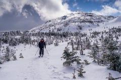 Σκιέρ πίσω χωρών στην κορυφή βουνών Στοκ φωτογραφία με δικαίωμα ελεύθερης χρήσης