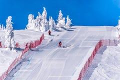 Σκιέρ που παίρνει έτοιμος να κάνει σκι κάτω από την απότομη να κάνει σκι ταχύτητας κλίση στην πρόκληση ταχύτητας και τη φυλή Παγκ Στοκ Εικόνα