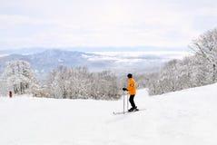 Σκιέρ που παίρνει στο όμορφο τοπίο Myoko πρίν συνεχίζεται κάτω από το βουνό Στοκ Εικόνες