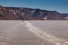 Σκιέρ στην πορεία χιονιού Στοκ Εικόνες