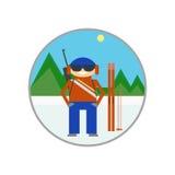 Σκιέρ στο υπόβαθρο του τοπίου βουνών, biathlon, το αλπικό s Στοκ φωτογραφία με δικαίωμα ελεύθερης χρήσης