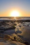 Σκιές βράχου στο ηλιοβασίλεμα στη Λα Χόγια, Καλιφόρνια Στοκ Φωτογραφίες
