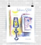 Σκιαγράφηση της απεικόνισης με το διανυσματικό σχήμα Αφίσα με το όμορ απεικόνιση αποθεμάτων