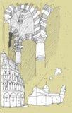 Σκιαγράφηση της ιστορικής αρχιτεκτονικής στην Ιταλία: Πίζα απεικόνιση αποθεμάτων