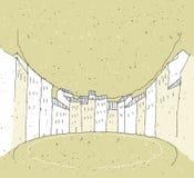 Σκιαγράφηση της ιστορικής αρχιτεκτονικής στην Ιταλία διανυσματική απεικόνιση