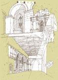 Σκιαγράφηση της ιστορικής αρχιτεκτονικής στην Ιταλία απεικόνιση αποθεμάτων