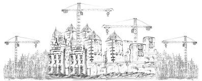 Σκιαγράφηση της οικοδόμησης κτηρίου ελεύθερη απεικόνιση δικαιώματος