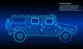 Σκιαγράφηση της περίληψης στρατιωτικών οχημάτων διανυσματική απεικόνιση