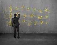 Σκιαγράφηση της σανίδας χρημάτων στο συμπαγή τοίχο Στοκ Φωτογραφίες