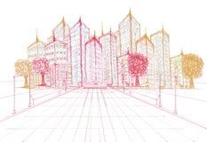 Σκιαγράφηση του νέου προγράμματος κτηρίου διανυσματική απεικόνιση