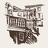 Σκιαγράφηση του παλαιού κτηρίου σε Budva Μαυροβούνιο διανυσματική απεικόνιση