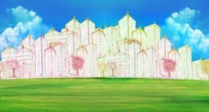 Σκιαγράφηση του σύγχρονου κτηρίου στον πράσινο τομέα χλόης απεικόνιση αποθεμάτων