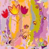 Σκιαγράφηση των τυποποιημένων τουλιπών στο ζωηρόχρωμο υπόβαθρο watercolor ελεύθερη απεικόνιση δικαιώματος
