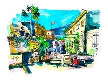 Σκιαγράφηση Watercolor του παλαιού τοπίου φρουρίων Budva Μαυροβούνιο, διανυσματική απεικόνιση