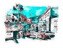 Σκιαγράφηση Watercolor του παλαιού τοπίου φρουρίων Budva Μαυροβούνιο, απεικόνιση αποθεμάτων