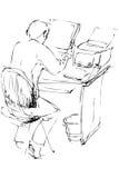 Σκιαγραφήστε έναν νεαρό άνδρα είναι σε έναν πίνακα Στοκ φωτογραφία με δικαίωμα ελεύθερης χρήσης