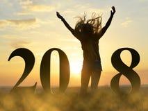 Σκιαγραφήστε το χαρούμενο κορίτσι στον εορτασμό του νέου έτους 2018 Στοκ φωτογραφία με δικαίωμα ελεύθερης χρήσης