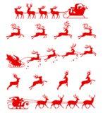 Σκιαγραφία Άγιου Βασίλη που οδηγά ένα έλκηθρο με τα deers απεικόνιση αποθεμάτων