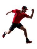 Σκιαγραφία άλματος δρομέων jogger τρέχοντας jogging Στοκ φωτογραφία με δικαίωμα ελεύθερης χρήσης