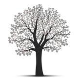 Σκιαγραφία δέντρων με τα φύλλα Στοκ εικόνες με δικαίωμα ελεύθερης χρήσης