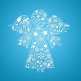 Σκιαγραφία αγγέλου που γεμίζουν με snowflakes Στοκ φωτογραφία με δικαίωμα ελεύθερης χρήσης