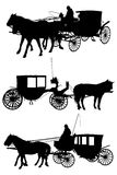 Σκιαγραφία αλόγων και μεταφορών Στοκ φωτογραφία με δικαίωμα ελεύθερης χρήσης