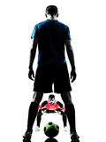 Σκιαγραφία ανταγωνισμού τερματοφυλακάων ποδοσφαιριστών δύο ατόμων Στοκ φωτογραφία με δικαίωμα ελεύθερης χρήσης