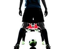 Σκιαγραφία ανταγωνισμού τερματοφυλακάων ποδοσφαιριστών Στοκ φωτογραφία με δικαίωμα ελεύθερης χρήσης