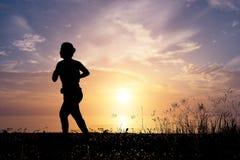 Σκιαγραφία απεικόνισης, τρέχοντας γυναίκα Στοκ φωτογραφία με δικαίωμα ελεύθερης χρήσης