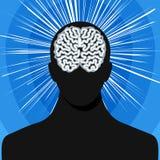 Σκιαγραφία ατόμων με τον εγκέφαλο Στοκ Εικόνα