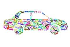 Σκιαγραφία αυτοκινήτων των εικονιδίων μηχανών Στοκ εικόνα με δικαίωμα ελεύθερης χρήσης