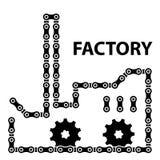 Σκιαγραφία αλυσσοτροχών αλυσίδων βιομηχανίας εργοστασίων Στοκ Εικόνες