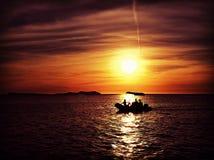 Σκιαγραφία βαρκών Στοκ Εικόνες