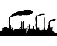 Σκιαγραφία βιομηχανίας διυλιστηρίων πετρελαίου Στοκ Φωτογραφίες