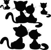 Σκιαγραφία γατών - διανυσματική απεικόνιση Στοκ Εικόνες
