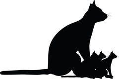Σκιαγραφία γατών Στοκ Φωτογραφίες