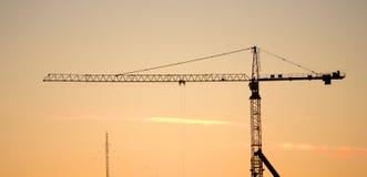 Σκιαγραφία γερανών κατασκευής Στοκ Εικόνες