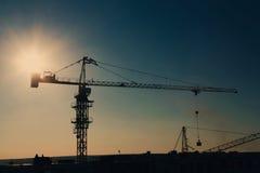 Σκιαγραφία γερανών πύργων στην περιοχή κατασκευής Στοκ Εικόνα
