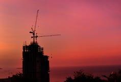 Σκιαγραφία γερανών πύργων Στοκ φωτογραφία με δικαίωμα ελεύθερης χρήσης