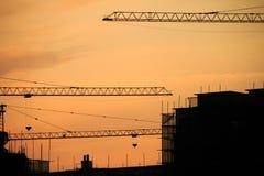 Σκιαγραφία γερανών στο ηλιοβασίλεμα Στοκ εικόνες με δικαίωμα ελεύθερης χρήσης