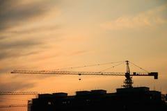 Σκιαγραφία γερανών στο ηλιοβασίλεμα Στοκ εικόνα με δικαίωμα ελεύθερης χρήσης