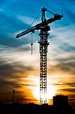σκιαγραφία γερανών ψηλή Στοκ Φωτογραφίες