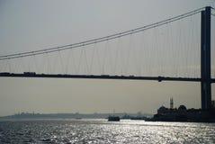 Σκιαγραφία γεφυρών Bosphorus στο ηλιοβασίλεμα Κωνσταντινούπολη Τουρκία στοκ εικόνα με δικαίωμα ελεύθερης χρήσης